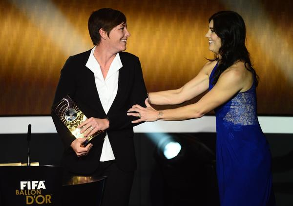 US forward Abby Wambach (L) receives the FIFA Women's World Player of the Year award during the FIFA Ballon d'Or awards ceremony at the Kongresshaus in Zurich on January 7, 2013.