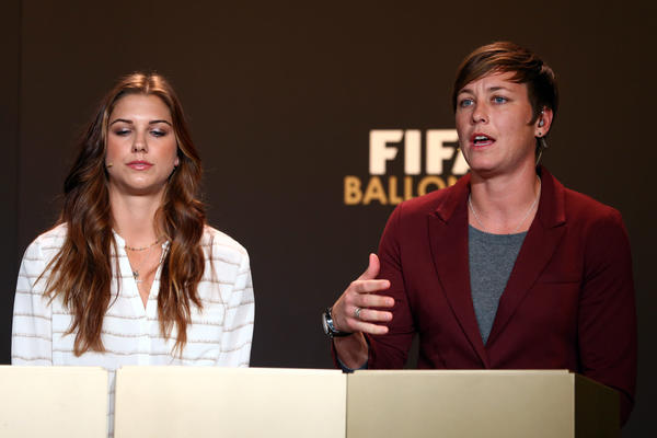 Alex Morgan of the United States and Abby Wambach of the United States attend the Press Conference with nominees for Women's World Player of the Year and World Coach of the Year for Women's Football on January 7, 2013 at Congress House in Zurich, Switzerland.