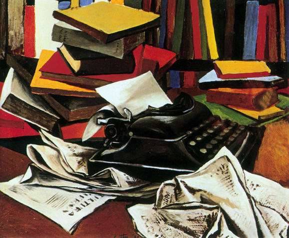 """Still Life with Typewriter"" (1951) by Renato Guttoso."