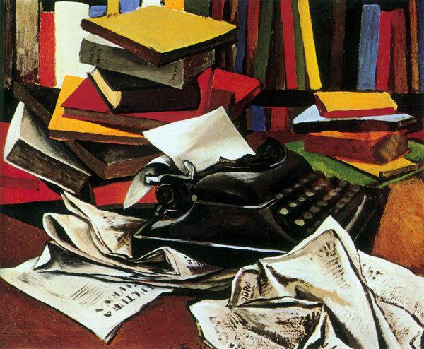 """""""Still Life With Typewriter"""" (1951) by Renato Guttoso."""
