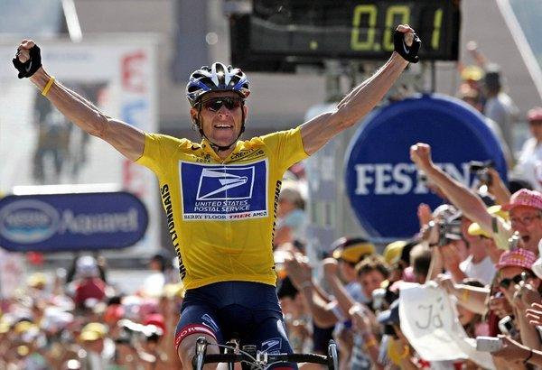 Lance Armstrong crosses the finish line as the victor in the Tour de France, one of his seven wins, all of which were stripped from him because of doping findings. He has repeatedly denied them, but may be considering admitting that he did.