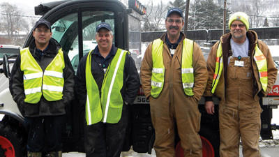 Dave Allbaugh, Brad Kelly, Rick Berg and Don Schuster, all of Facilities Operations at Conemaugh Memorial Medical Center and members of the Snow Team.