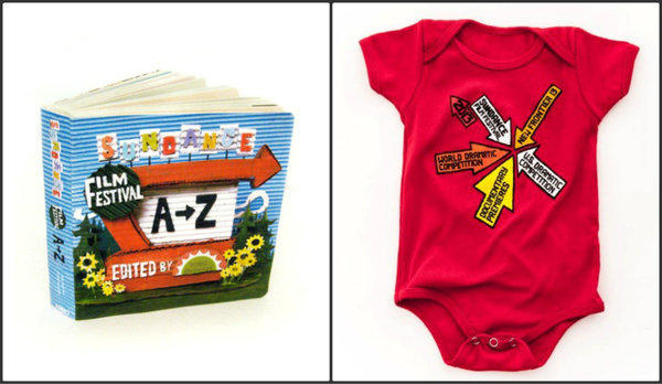 "The merchandise collaboration between Todd Oldham and the Sundance Institute includes ""Sundance Film Festival A to Z"" art book, at left, $25, and an infant onesie, right, $20."