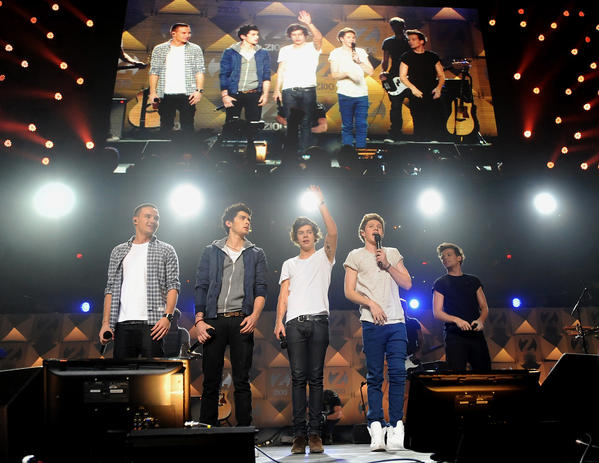 One Direction onstage at New York's Madison Square Garden in December for Z100's Jingle Ball.