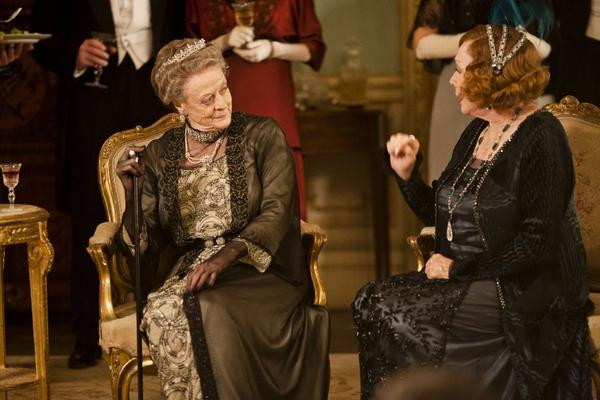 "Maggie Smith as the Dowager Countess, left, and Shirley MacLaine as Martha Levinson from the TV series ""Downton Abbey."""