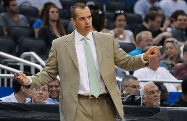 Indiana Pacers head coach Frank Vogel calls a play against the Orlando Magic during the first quarter at Amway Center.