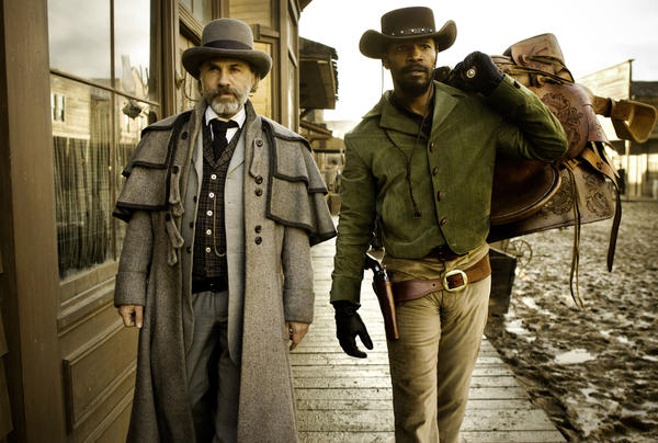 "FILE - This undated publicity file image released by The Weinstein Company shows, from left, Christoph Waltz as Schultz and Jamie Foxx as Django in the film ""Django Unchained,"" directed by Quentin Tarantino."