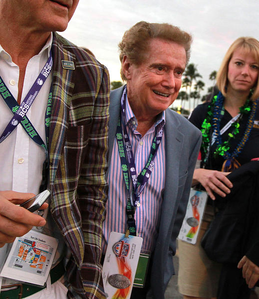 Talk show legend Regis Philbin, and long time Notre Dame fan, makes his way to the  BCS title game at Sun Life Stadium in Miami Gardens.