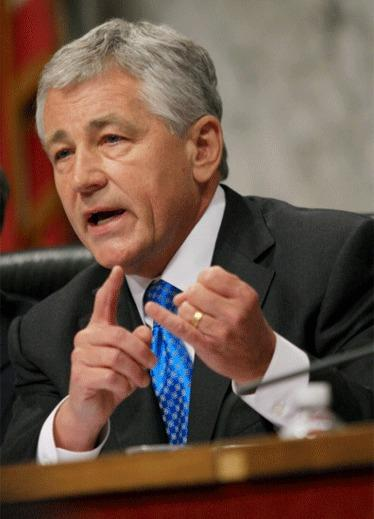 Former Sen. Chuck Hagel (R-Neb.) is seen speaking during a hearing held by the Senate Foreign Relations Committee on Capitol Hill in Washington, D.C.