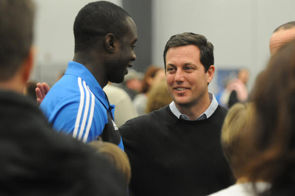 Chris Canetti, Houston Dynamo team president and a native of Guilford wanted to do something for the town and it grew into a big event. Hermann Trophy winner Marcus Tracy, who grew up in Newtown and now plays in the MLS, was one of about 35 players who met about 1,000 kids at the event. Tracy, left, and Canetti spent a little time talking during the event.