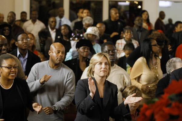 L.A. City Controller Wendy Greuel, who is running for mayor, attends church services last month at Bryant Temple A.M.E. Church in Los Angeles.