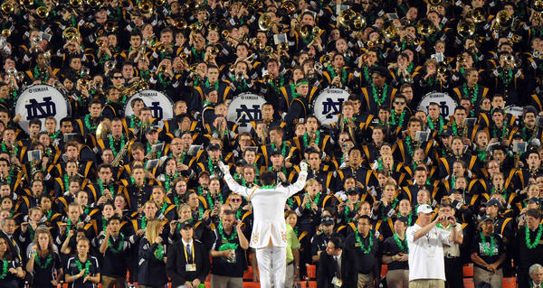 The Notre Dame marching band plays at the BCS Championship game. 2013 Discover BCS Championship Game.
