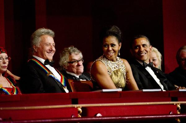 Honoree Dustin Hoffman, First Lady Michelle Obama and President Barack Obama at the 35th annual Kennedy Center Honors.