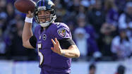 The Ravens made sure that quarterback Joe Flacco was a moving target against Indianapolis Colts pass rushers Dwight Freeney and Robert Mathis.