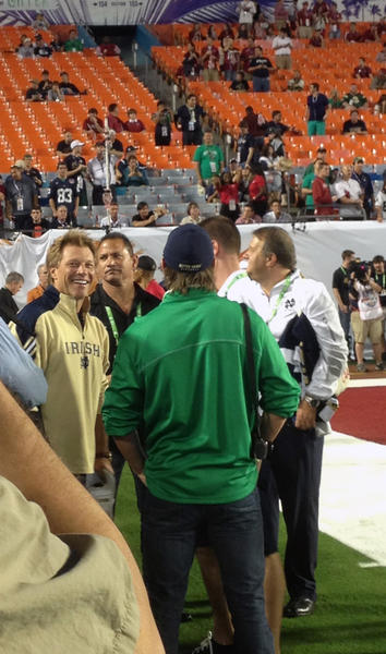 The Jersey rock star - and Notre Dame fan - was among the celebrities on the sideline before the BCS title game.