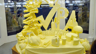 A 1,000-pound butter sculpture, sponsored by the Mid-Atlantic Dairy Association and Pennsylvania Dairy Promotion Program, depicts several of the state's top commodities, including dairy products, grapes and wine.