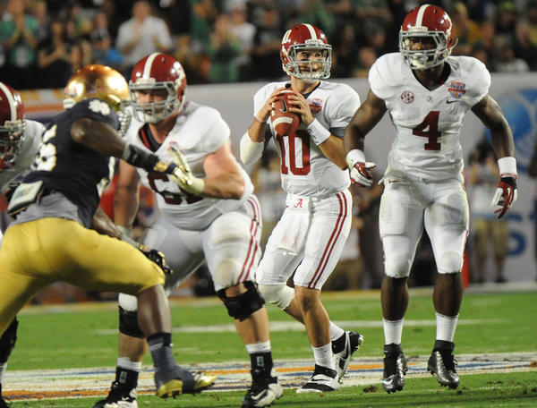 AJ McCarron of Alabama drops back to pass against Notre Dame. 2013 Discover BCS Championship Game. University of Alabama vs. Notre Dame. Sun Life Stadium, Miami Gardens, Florida.