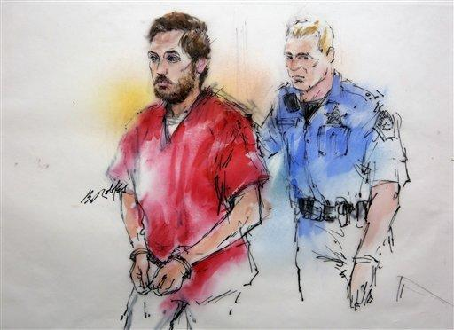 A sketch shows James Holmes, escorted by a deputy, arriving for a preliminary hearing in Centennial, Colo.
