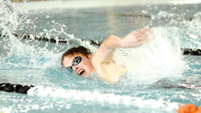 Somerset's Nick Bastian competes in a varsity swim meet against visiting Ligonier on Monday.