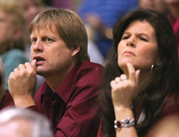 Mark and Sarah Tetzlaff watch the action at Wachs Arena during a Northern State men¿s basketball game last Friday. The Tetzlaff¿s son Dustin plays for Northern State. Mark Tetzlaff played college basketball at South Dakota State. His SDSU all-time scoring record was broken last Saturday by Nate Wolters. American News Photo by John Davis