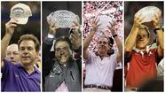 Nick Saban won his first national title at LSU after the 2003 season (at left) and has piled up three in the past four years at Alabama.