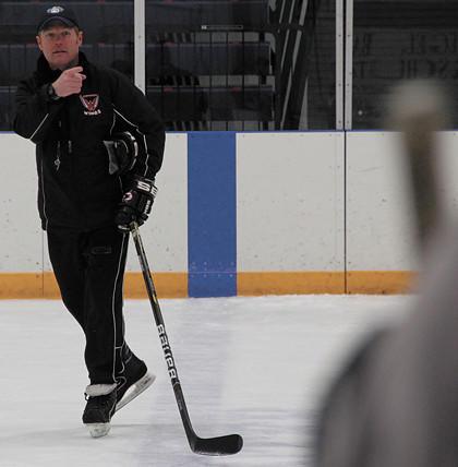 Aberdeen Wings interim head coach Garrett Strot leads the team during a recent morning practice.