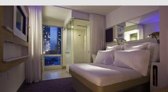 Yotel New York is located on West 42nd Street and 10th Avenue in Manhattan.