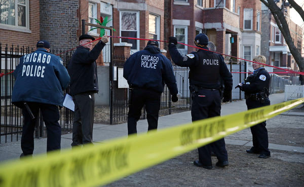 Police investigate the 4000 block of West Wilcox Street in Chicago where a man 24-year-old man was shot multiple times. He was taken to Mount Sinai Hospital, where he was pronounced dead.