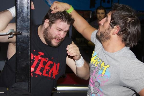 Kevin Steen battles Johnny Gargano in a tag-team match.