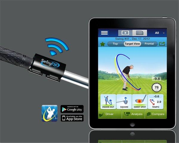 SwingTip, a product showcased at the Pepcom-sponsored event Digital Experience at the CES show, aims to help golfers improve their swing.