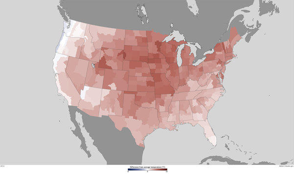 Temperatures were well above normal across much of the nation's midsection in 2012, making it the warmest year on record for the contiguous U.S.