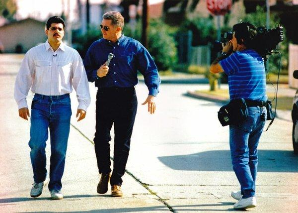 Huell Howser, with cameraman Luis Fuerte, profiles Robert Gomez in the first segment of his KCET series. Howser died Monday at age 67.
