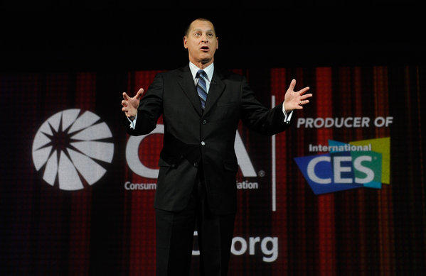 Consumer Electronics Assn. president Gary Shapiro speaks in his opening keynote at CES 2013