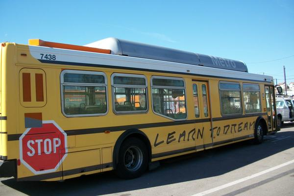 """Learn to dream"": John Baldessari has made over 12 L.A. Metro buses as part of the Arts Matter campaign by the nonprofit Los Angeles Fund for Public Education"