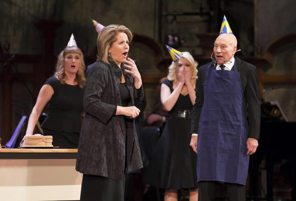 """The Second City Guide to the Opera"" at the Civic Opera House. Beth Melewski, Renee Fleming, Clarisa Barreca and Patrick Stewart share the stage during the show."