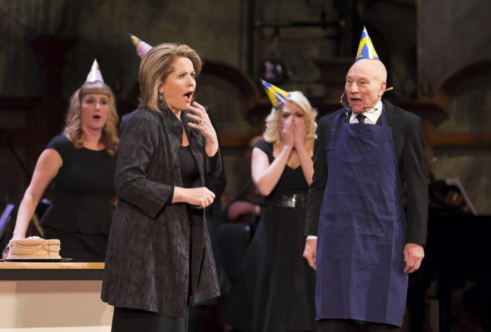 """""""The Second City Guide to the Opera"""" at the Civic Opera House. Beth Melewski, Renee Fleming, Clarisa Barreca and Patrick Stewart share the stage during the show."""