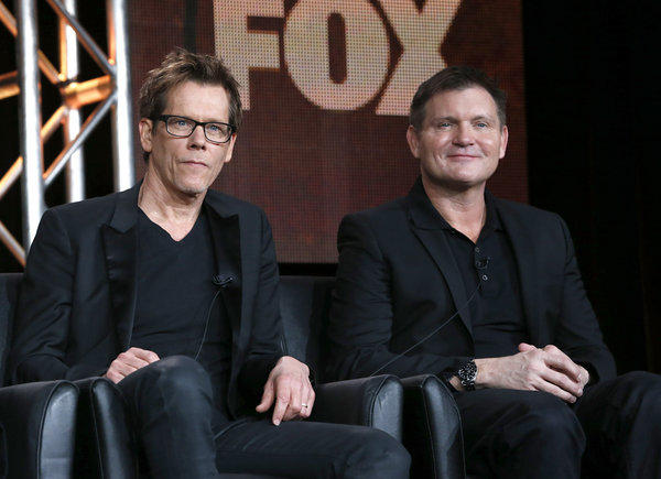 "Kevin Bacon, left, and Executive Producer/Creator Kevin Williamson from ""The Following"" attend the Fox Winter TCA Tour"