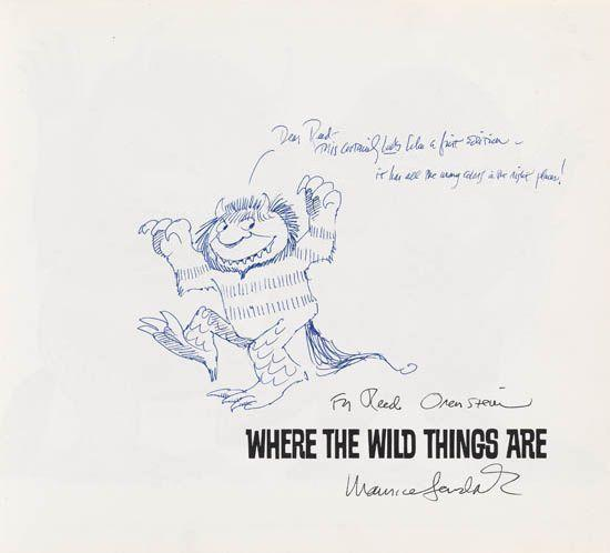"Maurice Sendak's inscription in a first edition of his book ""Where the Wild Things Are."""