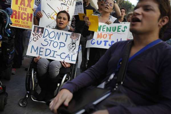 Disabled Californians protest cuts to Medi-Cal that Gov. Jerry Brown included in his proposed budget in January 2012.