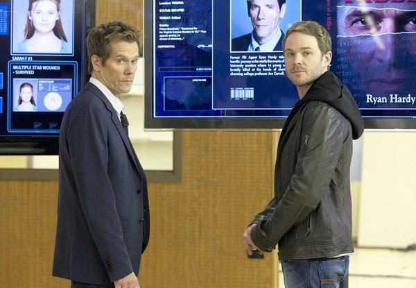 "Kevin Bacon, left, and Shawn Ashmore in ""The Following"" on Fox."