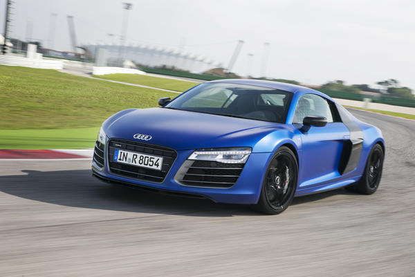 The 2014 R8 V-10 Plus will be the fastest version of this supercar yet. Audi says it will do 0-60 mph in 3.3 seconds, thanks to a 550 horsepower V-10 and a seven-speed, dual-clutch gearbox.