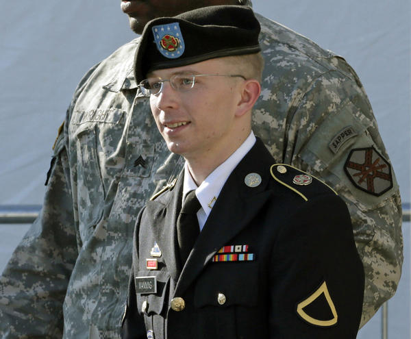 In this file photo, Army Pfc. Bradley Manning, right, is escorted out of a courthouse in Fort Meade, Md., June 25, 2012, after a pretrial hearing. The U.S. Army private is charged with sending thousands of classified documents to the WikiLeaks secrets-sharing website.