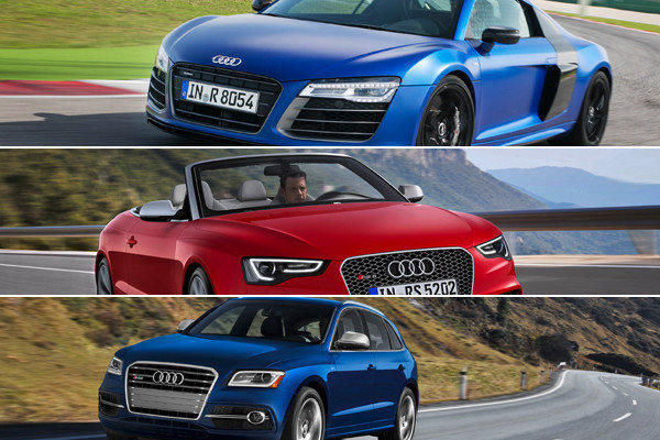 Audi will bring a trio of faster models to the 2013 Detroit Auto Show: the R8 V10 Plus, the RS5 Cabriolet and the SQ5 crossover SUV.