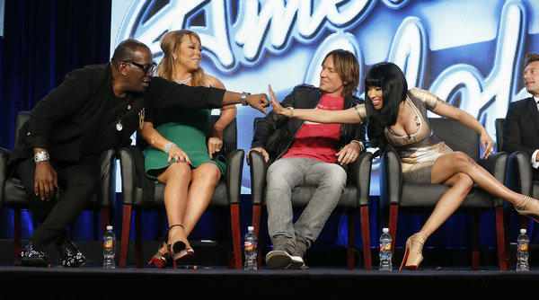 "Randy Jackson, from left, Mariah Carey, Keith Urban, Nicki Minaj and Ryan Seacrest from ""American Idol"" attend the Fox Winter TCA Tour at the Langham Huntington Hotel in Pasadena."