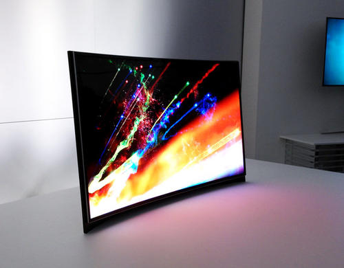 Samsung displayed the world's first curved OLED TV at CES on Tuesday.