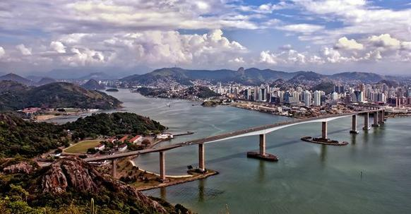 Scenic Vitoria, founded in 1551, is the capital of the state of Espirito Santo, Brazil. It is located on a small island within the Bay of Vit