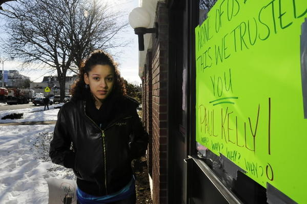 HARTFORD, CT; 1/3/2013: Melanie Vasquez had only a few weeks left in a medical assistant program at the Sawyer School. Now that it's closed, the single mom worries that she went into debt for nothing. She stands at the door of the closed school.