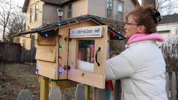 Anne Faulkner of Elgin sorts through the books inside the Little Free Library she built in front of her home.