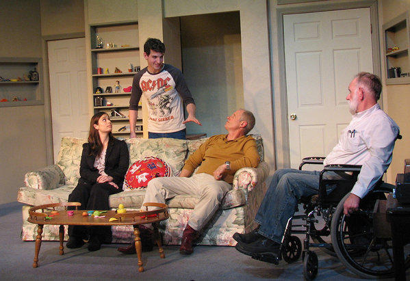 "Laura Michl, from left, Tyler Derench, Edmund Wyson and John Dickey depict a dysfunctional family reunion in ""The Gambler's Daughter"" at the Eclectic Company Theatre."