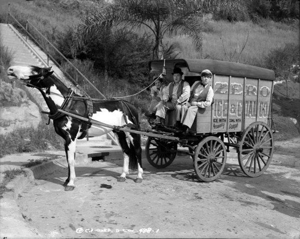 "The Three Stooges prepare to deliver some slapstick in 1941's ""An Ache in Every Stake,"" filmed on location in Silver Lake. The book ""The Three Stooges: Hollywood Filming Locations"" includes many such scenes."